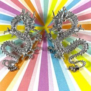 Killer Silver-tone Dragon Earrings